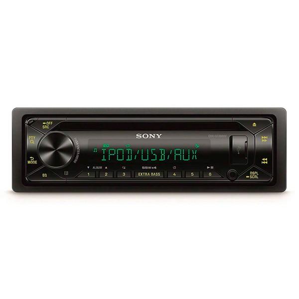 Sony cdx-cdx-g3300uv receptor de cd para coche usb pantalla lcd amplificación 4 salidas de 55w extra bass