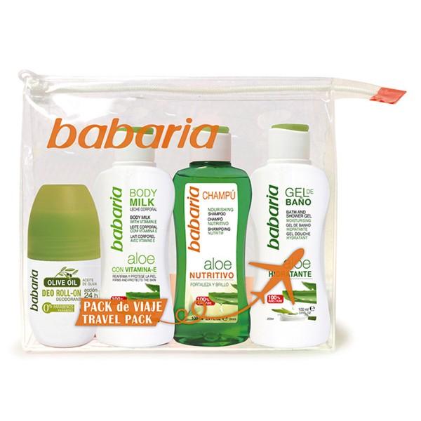 Babaria aloe champu 100ml + gel baño 100ml + body milk 100ml + desodorante 100ml